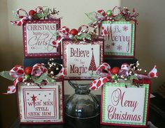Christmas Sign - Merry Christmas vinyl sign on wood block with tile -
