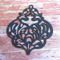 jewelry pendant large damask filigree NOCHE dark by PalomaAntigua
