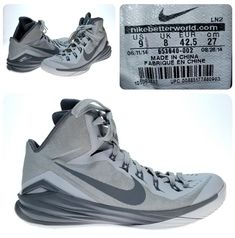 ad01aacf390b00 Men s 2014 Nike Hyperdunk TB Wolf Grey Shoes Lunarlon Sz 9 653483 001  BasketBall  Nike