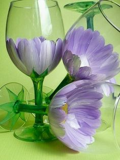 Flower painted glasses