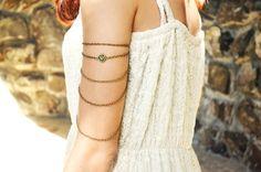 Armlet Slave Bracelet Arm Bracelet  Piece Hipster Body Gypsy Jewelry Emerald Charm Bronze Chain Drape