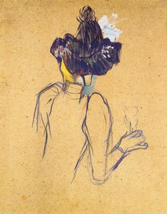 "artist-lautrec: "" Jane Avril Seen from the Back via Henri de Toulouse-Lautrec Size: 67x52 cm Medium: oil on cardboard"""