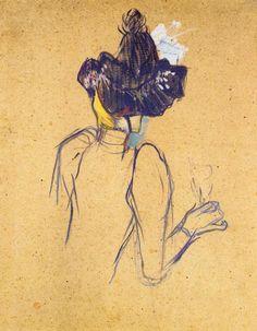 "artist-lautrec: "" Jane Avril Seen from the Back via Henri de Toulouse-Lautrec Size: 67x52 cm Medium: oil on cardboard"""