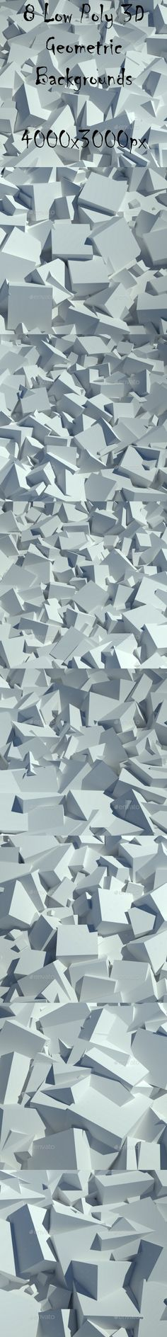 8 Low Poly 3D Geometric Backgrounds by Mumdzhiev The main file contains 8 low poly geometric background textures. No fonts are used in items. Images are saved as jpeg. Descript