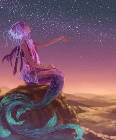 This mermaid would make a beautiful water-color tattoo.