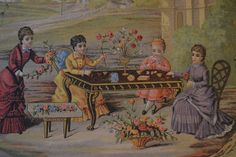 The little flower girl in French  les petites fleuristes..An  rare example of a work box in original presentation condition.  1875/1880 antique toys