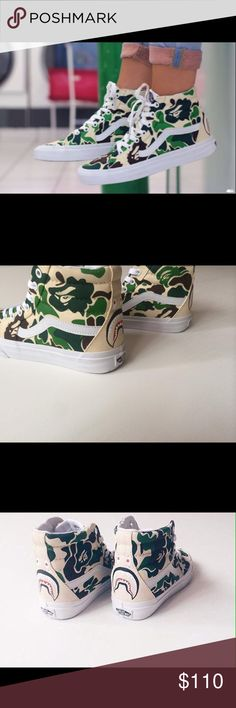 BAPE X Vans Sk8-Hi Sneakers Custom BAPE designed Vans. ***unisex shoe, runs in men's sizes, request size upon purchase*** Vans Shoes Sneakers