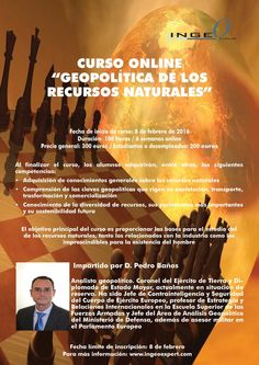 """Curso Online """"Geopolítica de los recursos naturales"""".  Fecha de inicio: 8 de febrero Más información: www.ingeoexpert.com  #geopolítica #geoeconomía #recursosnaturales"""