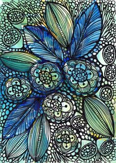 asiaraim:    shades of blue, yellow, and green - ink and watercolor  .  .  via pinterest