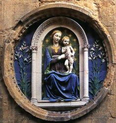 Title: Madonna and Child    Artist: Luca della Robbia    Time: 1455-1460    Media: Terracotta with polychrome    Size: 6 feet