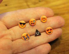 EMOJI earring studs - 12 kinds - sunglasses emoji, poo emoji, nailpolish emoji eggplant emoji etc