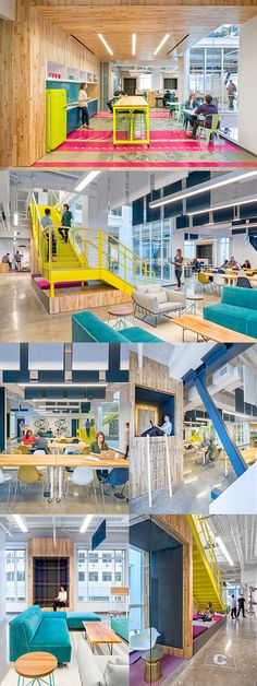 Capital One Labs - This is not your typical training space within a corporate bank. Against a raw material palette of white-ash wall and ceiling panels and a concrete floor, pops of color infuse the break area in the form of a neon yellow Smeg refrigerator