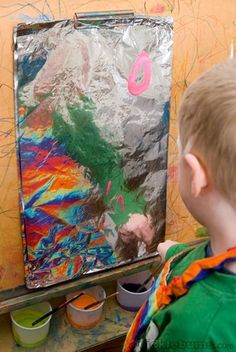 Paint on aluminum foil: add a small amount of dish washing liquid to your paint mix. Not only will that make cleaning up easier but it also helps the paint to stick to the foil better and not flake off when it dries. Art for kids. Preschool art.