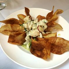 Crab meat guacamole & chips from Sarabeth's (near Central Park). NYC.