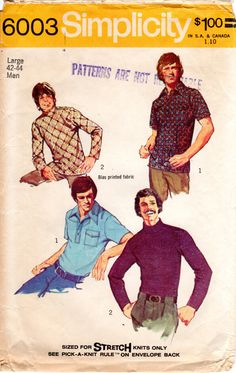1970s Men's Knit Shirt Top Pattern - Vintage Simplicity 6003 - Chest 42 44 by ErikawithaK on Etsy