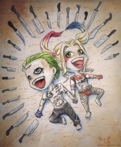 Suicide Squad Joker and Harley Quinn Chibis by Racuun.deviantart… on Selbstmordkommando Joker und Harley Quinn Chibis von Racuun. Harley Quinn Tattoo, Harley Quinn Et Le Joker, Harley Quinn Drawing, Harley Queen, Joker Drawings, Daddys Lil Monster, Joker Art, Sketches, Illustration
