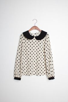 peter pan collar polka dot blouse.
