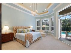 Naples Hot Properties - light blue transitional bedroom - cream ceiling - pool view