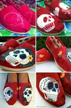 dad5f19882bc1 54 Best Sugar Skulls Day of the Dead Hand Painted Shoe Ideas images ...