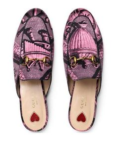 Gucci is Stepping All Over the Mule Game!   Shop Neiman Marcus for these: Gucci Princetown Toile Horsebit Mule in Pink/Black