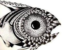 simple but effective. Fish Zentangle, Doodles Zentangles, Zentangle Animal, Stippling Tattoo, Types Of Patterns, Stick N Poke Tattoo, Principles Of Design, Pattern Art, Pattern Ideas
