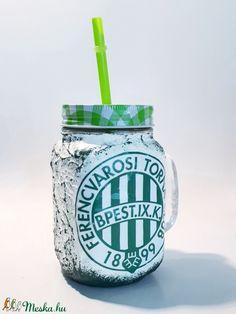 FTC foci rajongói sörös korsó vagy szívószálas üveg kettő az egyben (Biborvarazs) - Meska.hu Mason Jars, Mugs, Tableware, Dinnerware, Tumblers, Tablewares, Mason Jar, Mug, Dishes