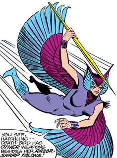 Deathbird of the Shi'ar (X-Men enemy) (classic Marvel Comics) diving in with a javelin. From http://www.writeups.org/deathbird-shiar-x-men-marvel-comics-classic/