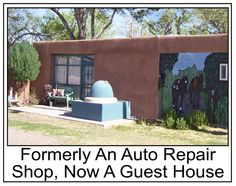 It is now a guesthouse, but previously was an auto repair shop. On the right, I painted the slumpstone (auto entry) area as a 14' tall mural  to instead reflect a mural of two horses tied at a hitching post. Read my Pinterest Board http://pinterest.com/patricialynne12/horse-ranch-photos/
