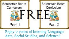 Free Printable Year of Learning with The Berenstain Bears Curriculum Part 1 and Part 2