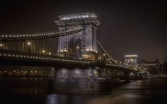 Download wallpapers Chain Bridge, Budapest, sights, city lights, night, Danube, Hungary