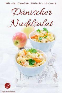 Nudel Rezepte, Salat Rezepte: Dänischer Nudelsalat, Rezept von herzelieb. Obwohl er in Dänemark eine Hauptmahlzeit ist, wird er bei uns auch gern als Beilage zum Grillen gegessen! #nudeln #salat #curry #rezept #gemüse #fleisch #herzelieb