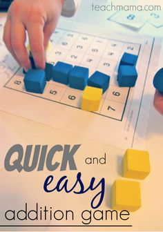 quick and easy addition game: finding addends | teachmama.com | math printable #weteach