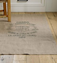 Vintage Grain Sack Rug....I bet this would look cute using drop cloth!