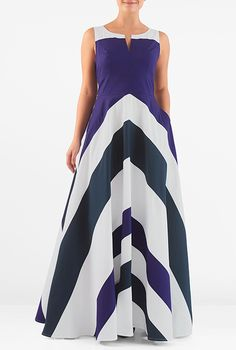 #Chevron #stripe #colorblock #maxi #dress #eShakti