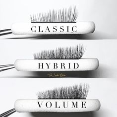 I created this for my clients to see the difference between classic, hybrid and volume. These are classic and Volume fans Artificial Eyelashes, Fake Lashes, Eyelash Extension Classes, Types Of Eyelash Extensions, Eyelash Studio, Eyelash Technician, Lash Quotes, Lash Room, Lashes Logo