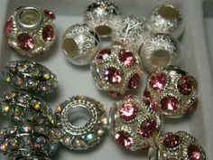 '15 pcs Rhinestone European Large Hole Beads PR4' is going up for auction at  6pm Wed, Sep 12 with a starting bid of $5.