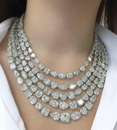 At @connieluk_christies. Trying on a necklace composed of 176 diamonds with a total weight of over 340 carats #ChristiesJewels #ChristiesHK