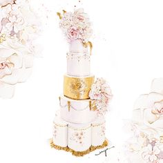 """This stunning 5 tier wedding cake was commissioned by """"Unique Cakes by Yevnig"""""""