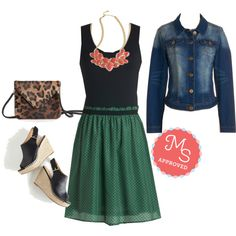 In this outfit: Book Fair Beauty Dress, Rapid City Blues Jacket, Pack a Posh Punch Necklace, Leopard-y Don't Start 'til I Walk In Clutch, Bungalow Boogie Wedge #colors #vintage #modcloth #modstylist #retro #spring #summer #fashion #outfits #trends #ootd #jeanjacket #wedges #dresses #casual #street
