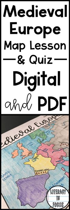 Middle Ages map lesson and quiz. Students focus on the geography and empires of Medieval Europe. Digital and PDF versions are included. #worldhistory #medievaleurope #middleschool #maplesson