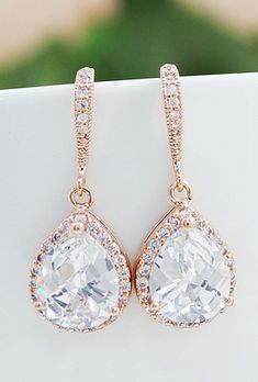 blush pink champagne earrings http://www.earringsnation.com/bridal-jewelry/lux-rose-gold-clear-white-cubic-zirconia-crystal-tear-drop-bridal-earrings#.UwT5lUJdVg9