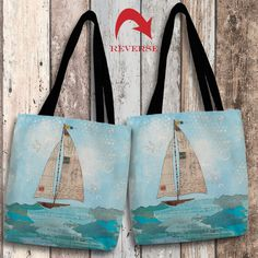 "A colorful and playful collage-style design. The art features a textured background and is subtly overlaid with handwritten text and postcard images. Our ""Coastal Notes I Canvas Tote Bag"" makes for th"