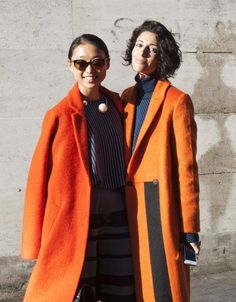 SHOP THE LOOK: LFW live: Orange sisters Bright colours and contrasting materials during London Fashion Week