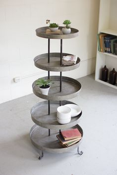 Kalalou Five Tiered Round Metal Display Tower. This display tower can the best piece of furniture resting in any of the corners of your room. Coastal Furniture, Ikea Furniture, Colorful Furniture, Wooden Furniture, Contemporary Furniture, Living Room Furniture, Antique Furniture, Furniture Outlet, Luxury Furniture