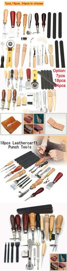 Leather Belt Hole Punch Replaceable Multi-Function Belt Punching Round Punch Punch with 7pcs Punch Head
