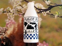 Milk Glass Egizia Painted Milk Bottle. Italy. by NostalgicFair