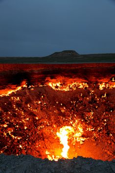 Door to Hell, Turkmenistan..In 1971, geologists discovered a 300-ft.-wide gas-filled cavern in the Karakum Desert. Fearing the gas would seep into the village, they decided to burn the methane instead. It's still burning to this day....