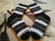 Black and white striped socks