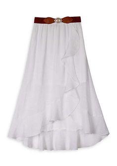 Amy Byer Girls Ruffle Front Maxi Skirt
