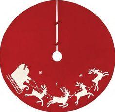 "Flying Santa Sleigh Rice Stitch Christmas Tree Skirt 54"""